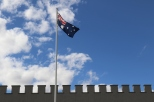 Australian flag flying at Taylors Wines in the Clare Valley Australia.